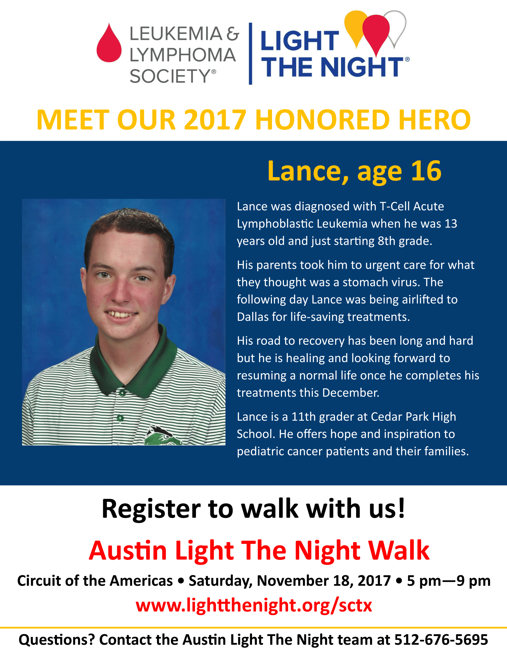 Lance Honored Hero for Light the Night
